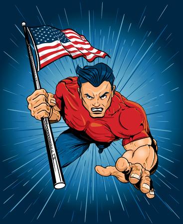 Patriotic Man Leaping Forward with American Flag 矢量图像