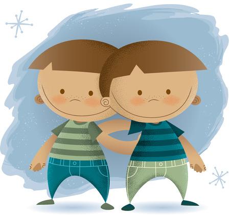 Vintage Illustration of Twin Boys
