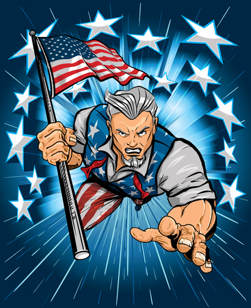 Uncle Sam Leaping Forward Carrying American Flag 矢量图像