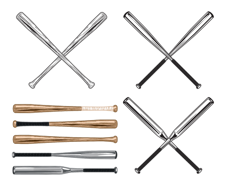 Assorted Straight and Crossed Baseball and Softball Bats Stock Vector - 114221102