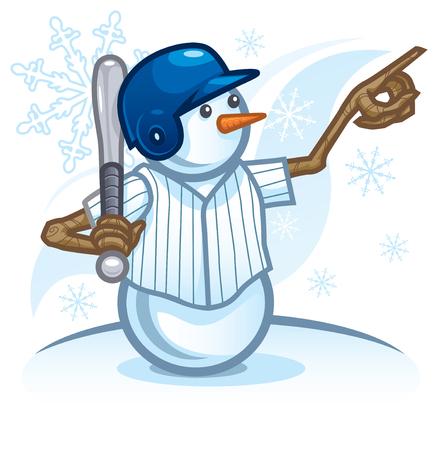Snowman Playing Baseball and Calling His Shot