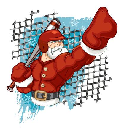 Santa Claus Playing Baseball and Calling His Shot