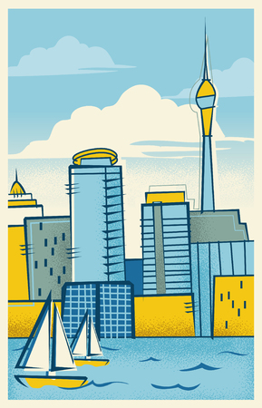 Vintage Travel Poster of Auckland