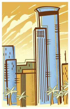 Vintage Travel Poster of Tel Aviv