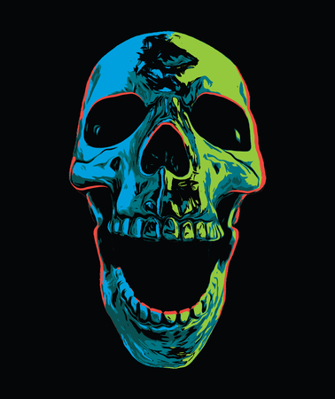 Psychedelic Screaming Skull Иллюстрация