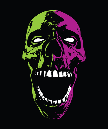 Screaming Psychedelic Zombie Skull