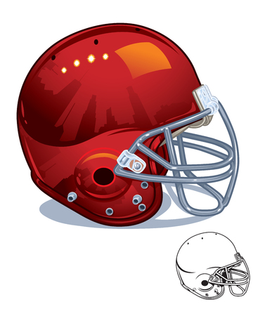 Red Shiny Football Helmet Profile