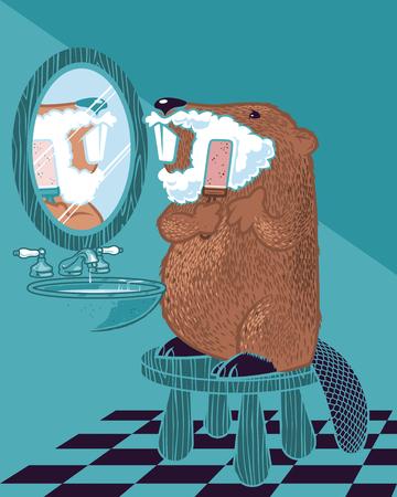 Cara de afeitado de castor divertido Ilustración de vector
