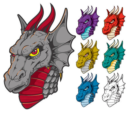 Dragon Head Mascot with Assorted Colors