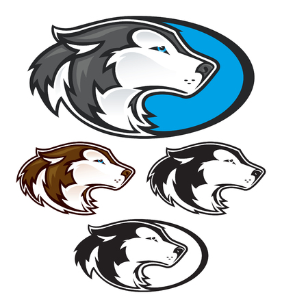Husky or Wolf Mascot Heads Illustration