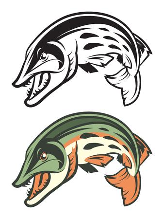 Skacząca maskotka rybki muskie Ilustracje wektorowe