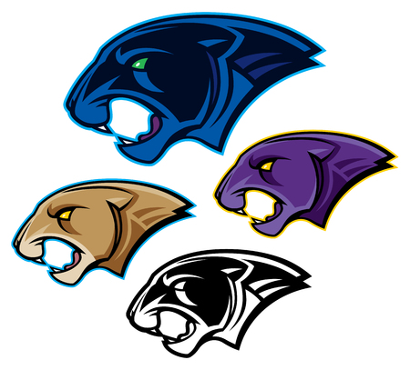 Panther, Cougar, or Mountain Lion Mascot Heads