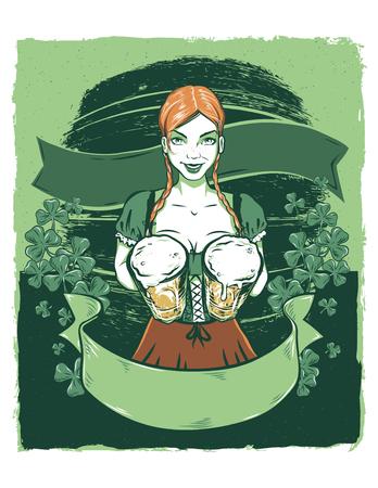Modelo Pinup de Irish Bar Maiden Ilustración de vector