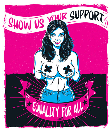 Pinup Model Feminist Poster for Equality Illustration