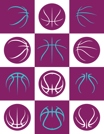 Simplified Basketball Shapes on Checkered Background