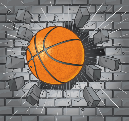 Basketball Breaking Through Brick Wall 向量圖像