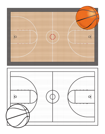 Basketball Court Graphic Aerial View Illustration