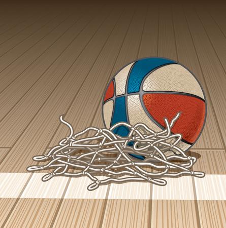 Basketball with Cut Net on Gym Floor