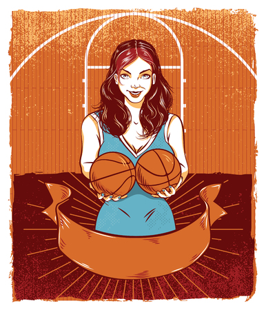 Pinup Model Holding Basketballs  イラスト・ベクター素材