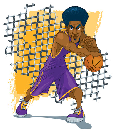 Basketball Player in Purple Jersey  イラスト・ベクター素材