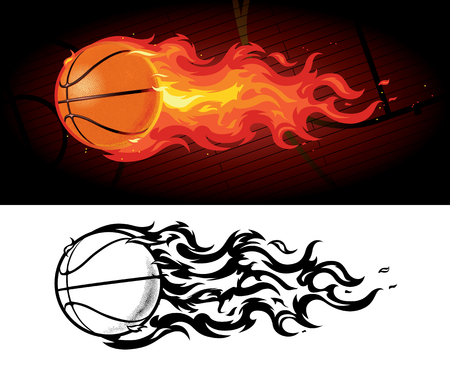 Flaming Basketball Soaring over Court