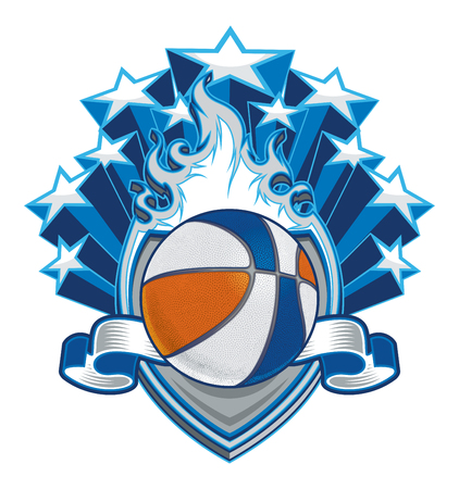 Basketball on Flaming Shield with Stars
