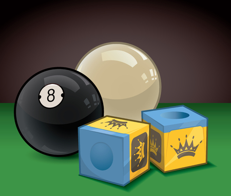 Eight Ball and Cue Ball with Cue Chalk