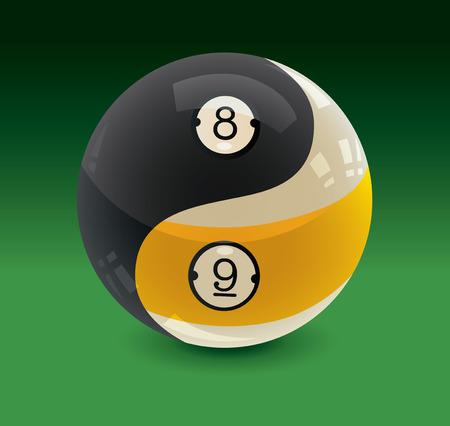 Huit boules et neuf boules Yin Yang
