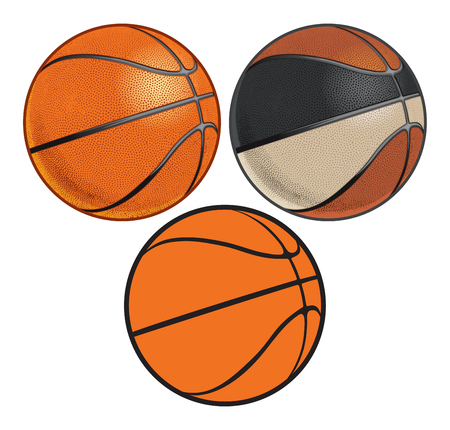 Realistic Basketballs with Dimples Illustration