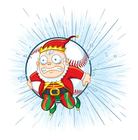 A North Pole elf looking frightened while riding a baseball out of the park for a home run Illustration