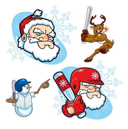 Assorted icons of baseball or softball themed Holiday characters, including a snowman, a reindeer, and tough-looking Santa Claus, both with a baseball helmet and without.