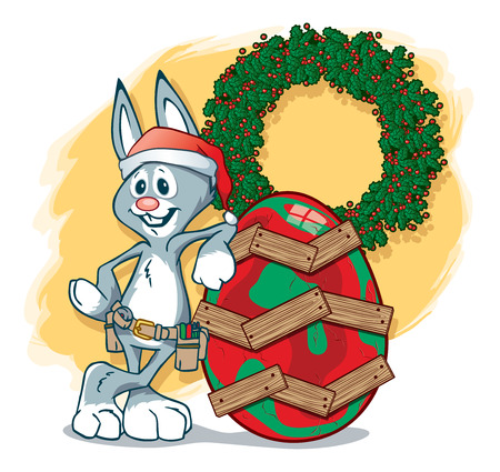 The Easter Bunny helping Santa out on Christmas Duty, painting a cracked egg in Christmas colors and repairing it with wooden planks