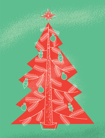A retro modern illustration of a Christmas tree in the style of a vintage holiday greeting card  イラスト・ベクター素材
