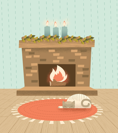A retro modern illustration of a holiday fireplace with a cat sleeping peacefully on a rug before the fire