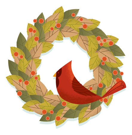 A retro modern illustration of a holiday wreath with a cardinal resting in its center  イラスト・ベクター素材