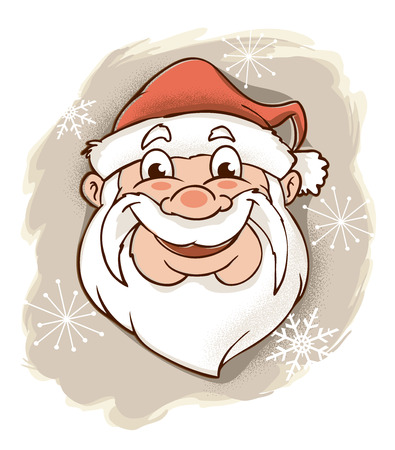 A retro modern illustration of Santa Claus, grinning broadly