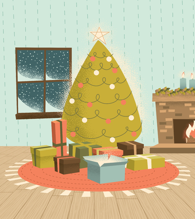 Vintage Christmas Tree with Presents, illustrated in a retro-modern style, colors, and stippling effect