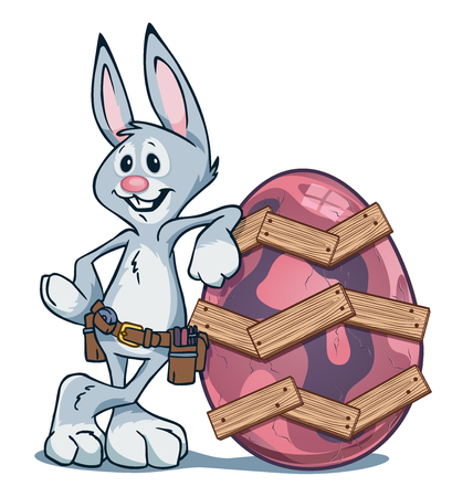 Easter Bunny leaning against cracked Easter egg that he repaired using wooden boards and nails.