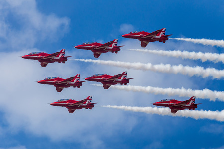 Red Arrows performing the Tornado formation at the 2016 Southport airshow. Editorial