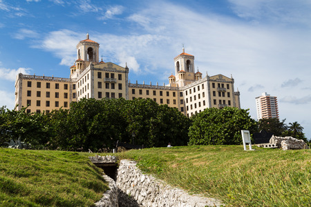 Trenches in front of the world famous Hotel Nacional de Cuba which stands on a hill overlooking the Malecon.