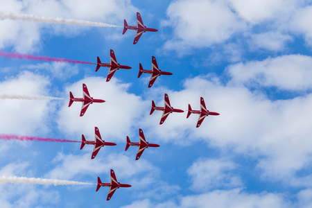 Red Arrows performing the Apollo formation at the 2016 Southport airshow.