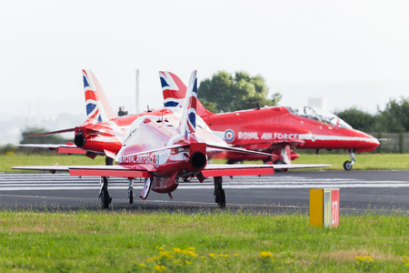 The final section of the Royal Air Forces display team taxi out onto the runway at Liverpool airport ready to depart to their home base at RAF Scampton.
