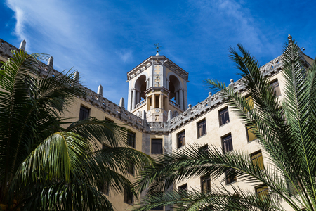 Looking up at one of the two towers on top of the Hotel Nacional de Cuba which overlooks the Malecon ocean highway.