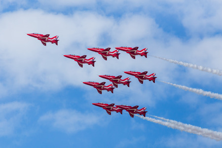 Red Arrows performing the Shuttle Roll formation at the 2016 Southport airshow.