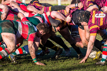 Seen at the home of Waterloo Rugby Club during a RFU National League - National League 3 North game. Stok Fotoğraf - 72820114