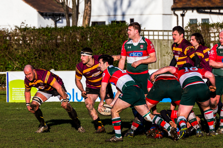 Seen at the home of Waterloo Rugby Club during a RFU National League - National League 3 North game. Stok Fotoğraf - 72820116