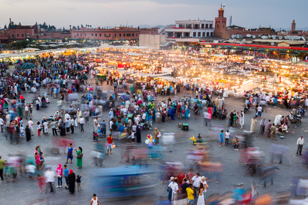One of my favourite shots in Morocco where Ive slowed the shutter speed down to 1.6 seconds to show just how Jemaa el-Fnaa square comes to life when the sun has gone down.