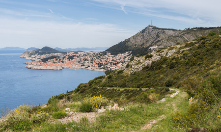 The breath-taking views of Dubrovnikâ??s beautiful old town seen from Park Orsula. Stock Photo