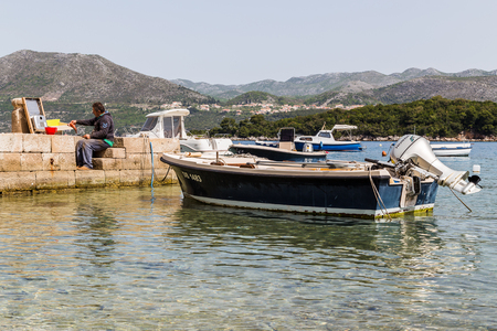 former yugoslavia: A fisherman descales & guts his fresh catch of fish on the quayside in Kolocep. Editorial