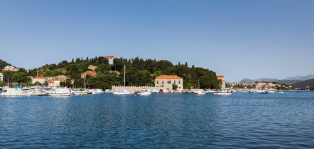 former yugoslavia: A panorama of Gruz harbour in Dubrovnik - facing the Lapad peninsula home to hotels & expensive property.